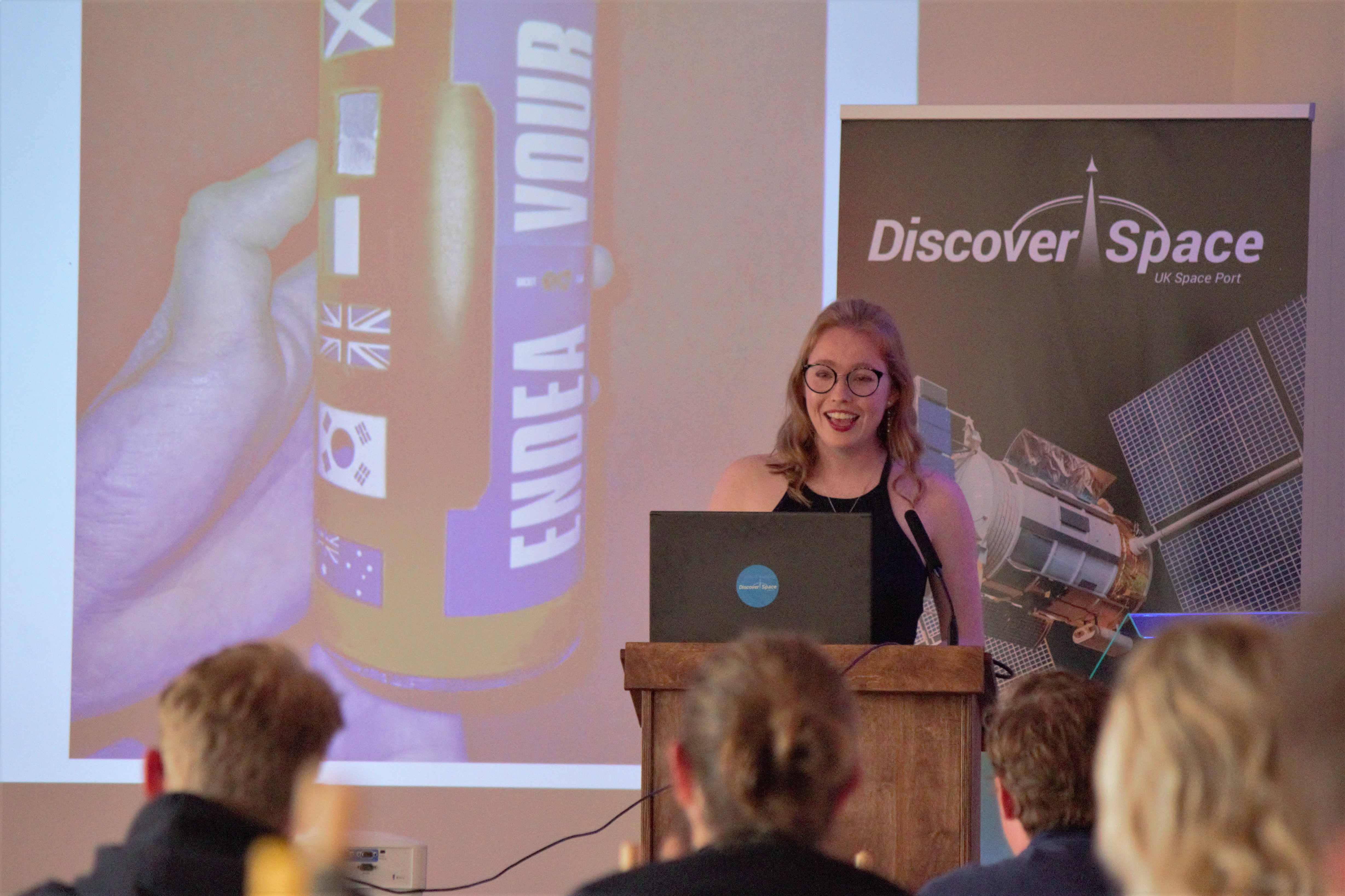 Sarah Hassett, from Endeavour's PayLoad Team, presenting Endeavour's work during the competition