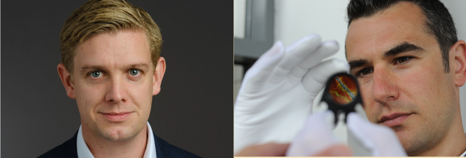 Dr Adam Stokes (left) and Dr Philip Hands (right) have both won Principal's Innovation Awards