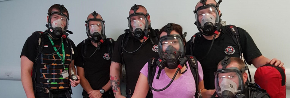Technical staff taking part in breathing apparatus training (L-R) Martin Corcoran, Doug Halley, Alex Kirkland, Caroline Delahoyde, Calum Melrose, and Chris Sturgeon