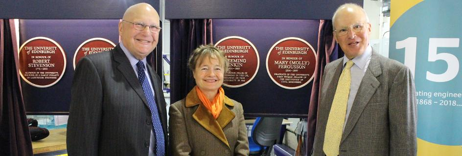 Pip Ayton (Women in Engineering) alongside Ian and Douglas Fergusson, nephews of Molly Fergusson, one of the commemorated alumni