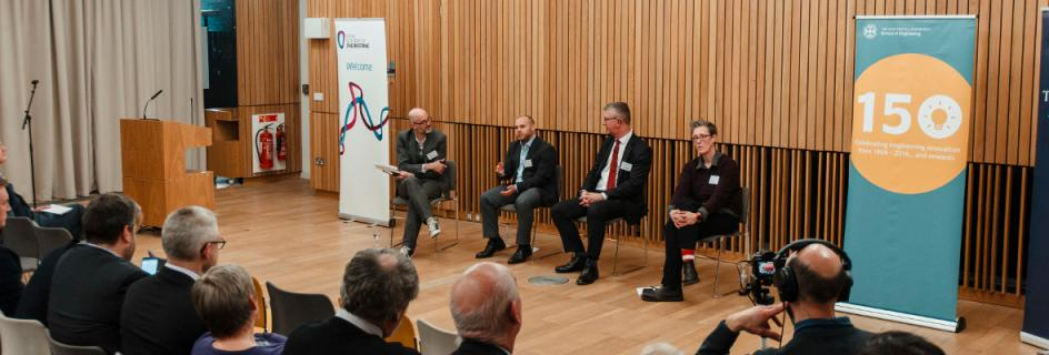 L-R: Professor Mark Miodownik (UCL) chairs a panel discussion with Brian Gerardot (Heriot-Watt University), Colin McInnes (University of Glasgow) and Susan Rosser (University of Edinburgh)