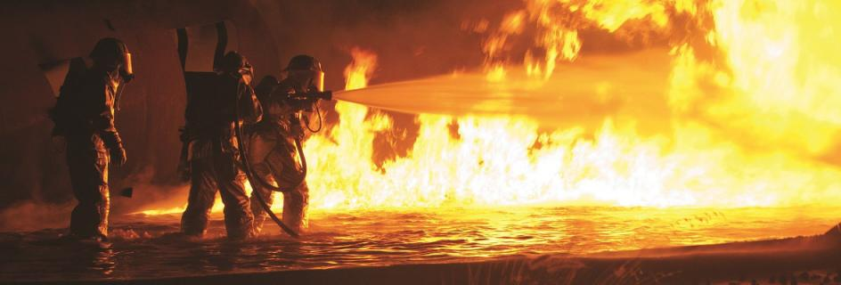 Fire fighting in action
