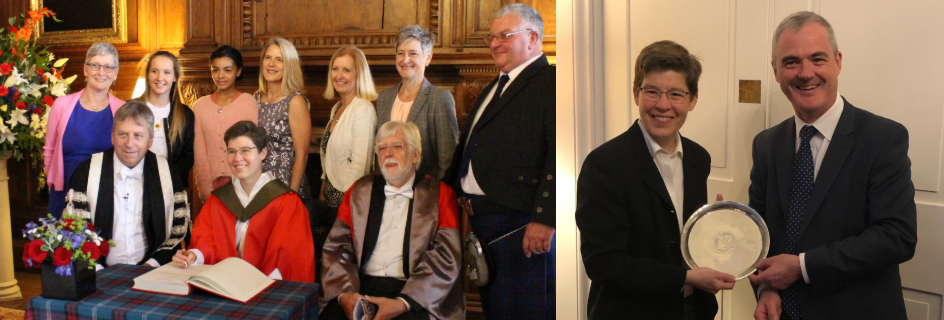Professor Jennifer Lewis (centre, bottom row), with her guests (top row), University Principal Professor Peter Mathieson (bottom left), and Professor Christopher Hall (bottom right)