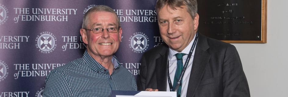 Kevin Tierney receives Long Service Award from University of Edinburgh Principal, Professor Peter Mathieson