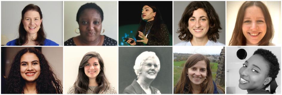 Top row, left to right: Dr Camilla Thomson, Mbayer Abunku, Gunel Aghabayli, Dr Anna Garcia-Teruel, Sarah Dallas. Bottom row, left to right: Anushka Kapoor, Desen Kirli, Molly 'Mary' Fergusson, Dr Francisca Martinez-Hergueta, Maty Tall.