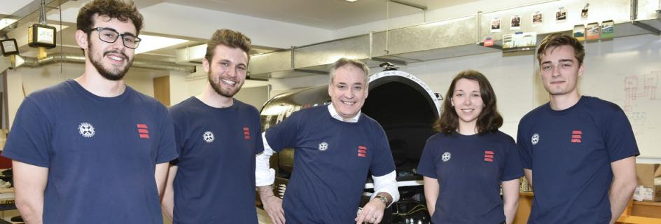 Richard Lochhead MSP (centre) with HYPED team members (L-R) Daniel Carbonell, Mac Versey, Maisie Edwards-Mowforth and Hamish Geddes