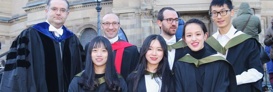 Advanced Chemical Engineering MSc Graduates on steps in front of McEwan Hall with programme directors