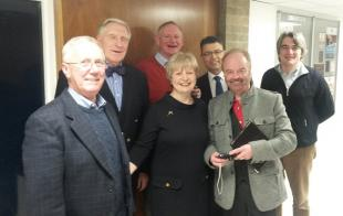 Caroline is pictured with Professors Jim Jordon, John Mavor, Peter Grant, Hugh McCann, Alan Murray and Stefano Brandani