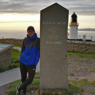 Daniel visiting Dunnet Head, the most northerly point of mainland Britain