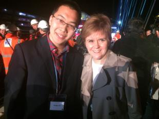 SAFE MSc student Hangyu Xu met Scottish First Minister Nicola Sturgeon at the opening of the Queensferry Crossing, August 2017