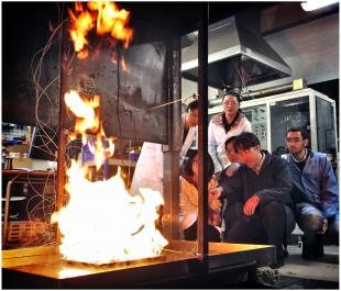 Pool Fire Experiment with MSc Structural and Fire Safety Engineering students at the fire laboratory on Kings Buildings campus