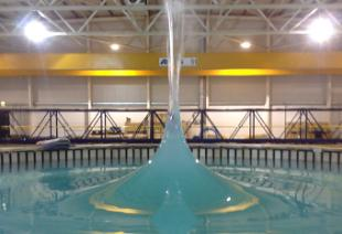 Flowave focussed wave formed in the wave tank on King's Buildings Campus