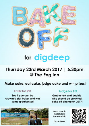 Engineering Bake off for Dig Deep poster with event details
