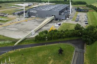 World's largest wind turbine blade for an 8MW turbine, 88.4m long, manufactured in glass fibre reinforced epoxy