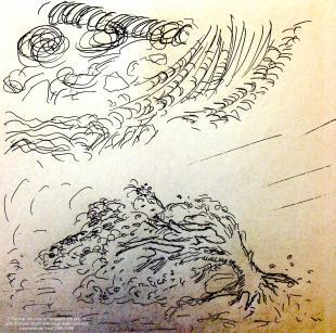 "The painting ""Uragano con enormi getti d'acqua""  (Storm with huge water gushes) by Leonardo da Vinci"