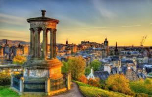 Dugald Stewart monument, Calton Hill, with Edinburgh skyline in background