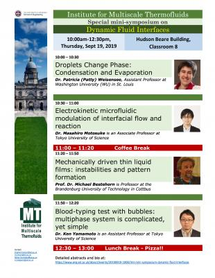 Promotional flyer for IMT mini-symposium on Dynamic Fluid Interfaces
