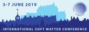 International Soft Matter Conference ISMC2019  flyer with Edinburgh skyline graphic, title and conference dates 3-7 June