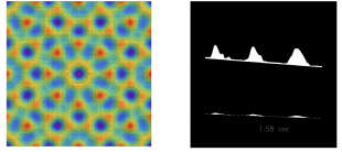 Left frame: Quasi-periodic surface pattern obtained by two-frequency vertical excitation. Right frame: drops can travel upwards on an incline if the layer is vibrated horizontally. (Research talk image by Prof. Michael Bestehorn)