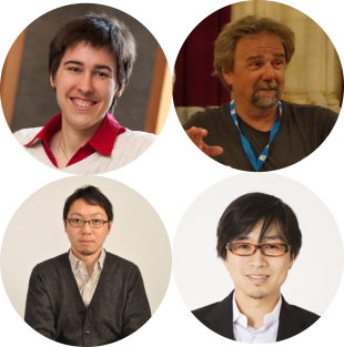 Profile pictures of Dr. Patricia Weisensee (top left), Prof. Michael Bestehorn (top right), Dr. Ken Yamamoto (bottom left), Dr. Masahiro Motosuke (bottom right)