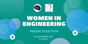 Women in Engineering: Find your path - event flyer with title, dates and time on green background