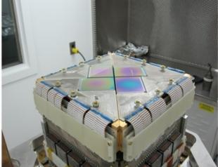 The 450um focal plane unit for the SCUBA-2 detector array that is now fully operational on the James Clerk Maxwell Telescope in Hawaii.  It has a sensitivity of 10-17 W/√Hz.