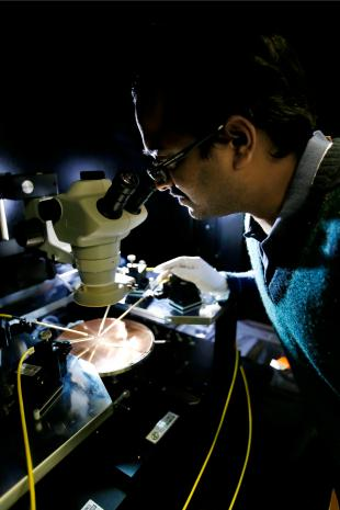 Researcher working in a scientific laboratory