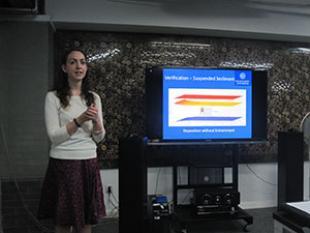 Maggie Creed giving a seminar at Tsinghua University