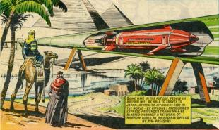 Sci-fi Comic book from 1950s demonstrating Hyperloop travel