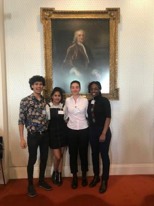 (Right to left) Whitney Jimngang and Katherine Larabi, alongside team mates Nikhitha Anto and Taha Gomma during the Royal Academy of Engineering Global Grand Challenges Summit Student Competition 2019