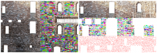 Image shows: Rubble masonry wall of Linlithgow Palace as analysed by the new software tool, with automatically extracted individual stones and mortar regions shown.