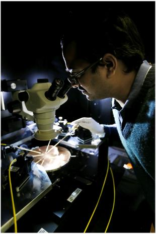 Scientist using the new EverBeing EB-6 Analytical Probestation laboratory equipment