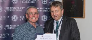 Kevin Tierney receives Long Service Award from University of Edinburgh Principal, Professor Peter Mathieson