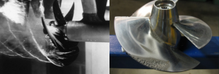 Bubbles coming off a ship's propeller when they have reached larger sizes (left), and the damage caused when these bubbles collapse on another propeller (right)