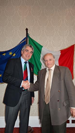 Prof Stefano Brandani receives the Knight of the Order of the Star of Italy (Cavaliere dell'Ordine della Stella d'Italia)  from Consul General for Scotland and Northern Ireland, Mauro Carfagnini, at a ceremony in Edinburgh on 23 April 2014.
