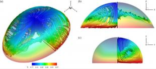 Streamlines illustrating the temperature distribution and emergence of azimuthal currents within the flow of an irregular 3D liquid droplet undergoing phase change.