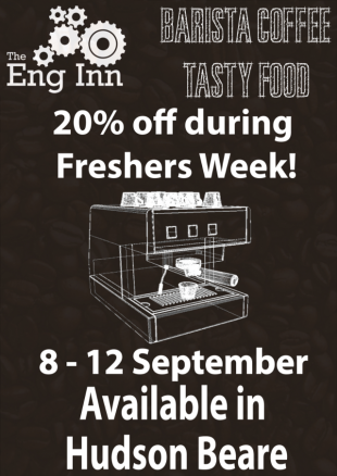 The Eng Inn cafe promotional poster, 20% off during Freshers week from 8-12 September