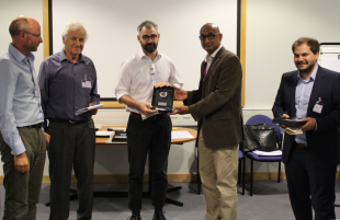Dr Mark McAllister receiving the Osborne Reynolds PhD oral presentation award