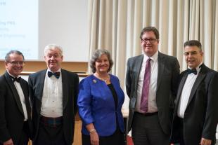 Left to right; Prof Gordon Masterton, Prof Timothy O Shea, Dame Ann Dowling, Prof Jason Reese, Prof Hugh McCann
