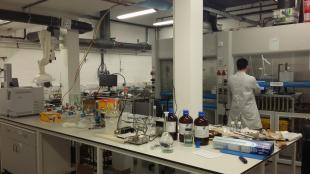 Researcher working in the Catalysis Design Laboratory at the School of Engineering, University of Edinburgh