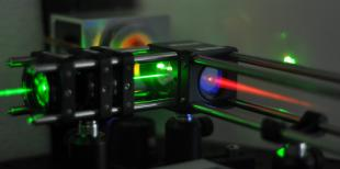 Lasing in liquid crystals (green pump input, red lasing output)