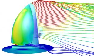 Unique flow features of yacht sails allow extraordinary fluid dynamic efficiency