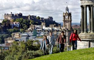 University of Edinburgh students walking up Calton Hill