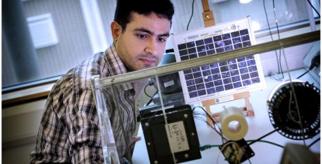 Engineering student in lab