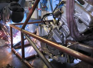 Frame welding with engine